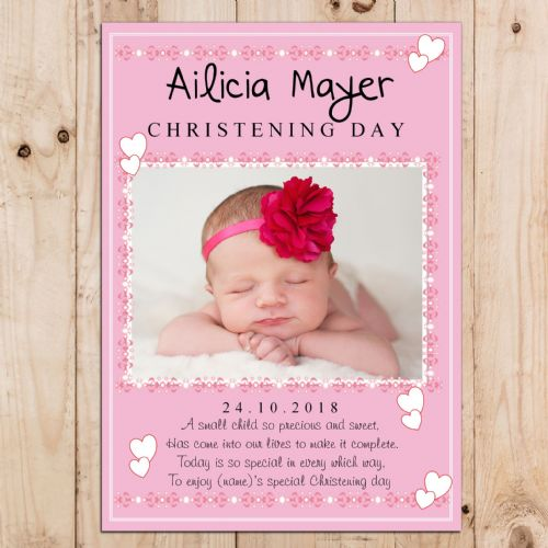 Personalised Girls Pink Christening Baptism Party PHOTO Banner Poster N28